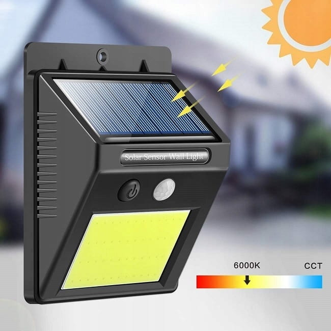lampa  LED z czujnikiem ruchu i z panelem solarnym